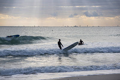 Going Surfing On Miami Beach Florida Sunrays Mid Fall Print by Toby McGuire