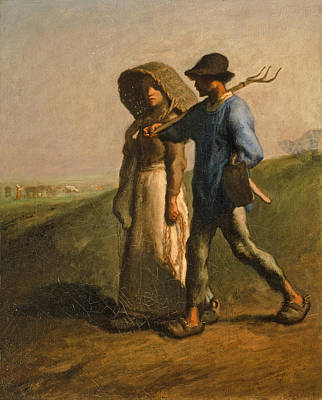 Jean Francois Millet Painting - Going To Work by Jean Francois Millet