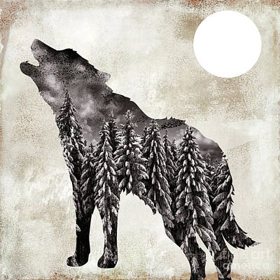 Fauna Painting - Going Wild Wolf by Mindy Sommers