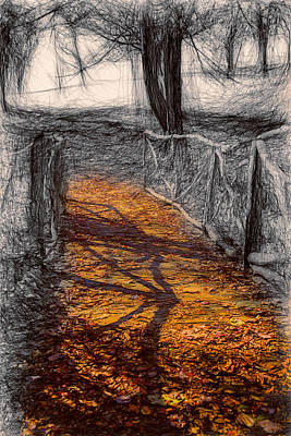 Gold And Orange Path Print by John Haldane