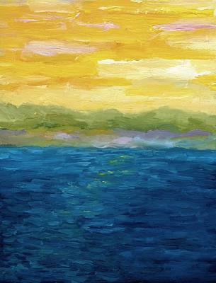Lake Michigan Painting - Gold And Pink Sunset  by Michelle Calkins