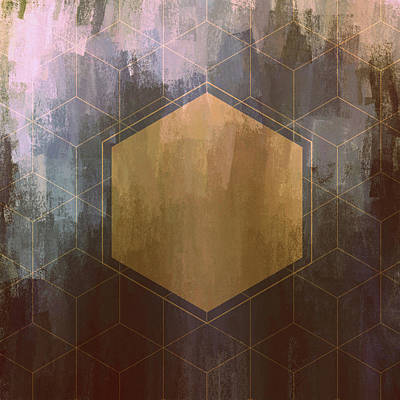 Modern Mixed Media - Gold And Purple Hexagon by Brandi Fitzgerald