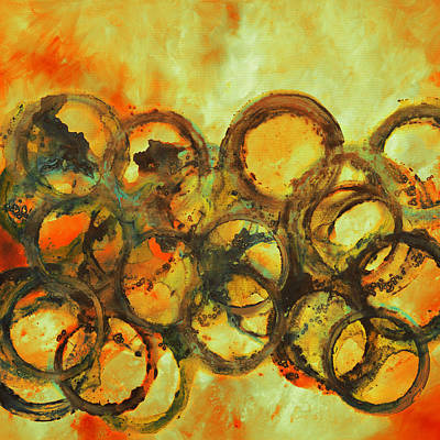 Gold Painting - Gold And Red Art Print From Painting  by Andrada Anghel