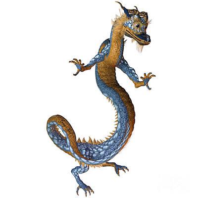 Gold Blue Dragon Print by Corey Ford