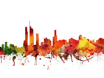 Australian Drawing - Gold Coast Cityscape 04 by Aged Pixel