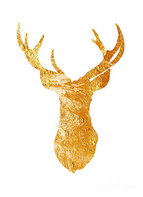 Mammals Mixed Media - Gold Deer Silhouette Watercolor Art Print by Joanna Szmerdt