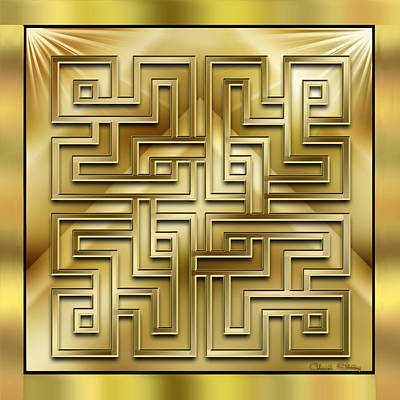 Hand Crafted Digital Art - Gold Design 1 - Chuck Staley by Chuck Staley