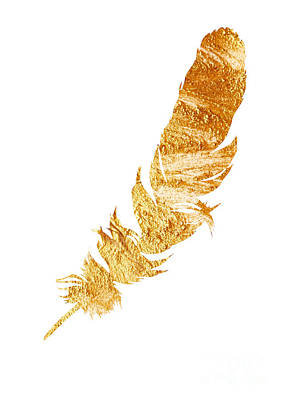 Gold Feather Watercolor Painting Print by Joanna Szmerdt