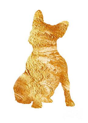 Gold French Bulldog Minimalist Painting Print by Joanna Szmerdt