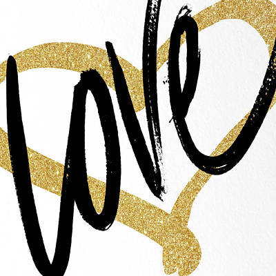 Quote Painting - Gold Heart Black Script Love by South Social Studio