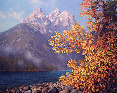 National Parks Painting - Gold In The Tetons by John Cogan