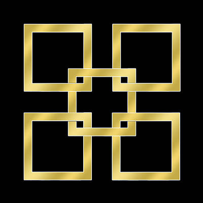 Greek Art Digital Art - Gold Squares On Black by Chuck Staley