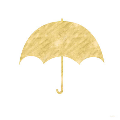 Gold Umbrella- Art By Linda Woods Print by Linda Woods