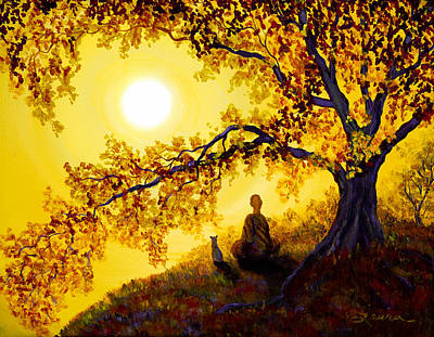 Asian Painting - Golden Afternoon Meditation by Laura Iverson