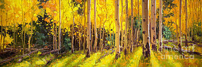 Nature Scene Painting - Golden Aspen In The Light by Gary Kim