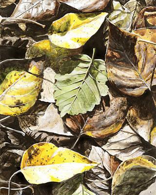 Golden Autumn - Talkeetna Leaves Print by Karen Whitworth