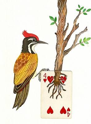 Woodpecker Mixed Media - Golden-backed Woodpecker by Ketki Fadnis