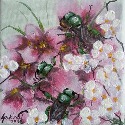 Beetle Painting - Golden Bees by Judit Szalanczi