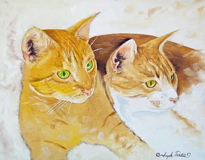 Painting - Golden Cats by Joseph Palotas