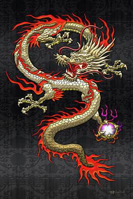 Golden Chinese Dragon Fucanglong On Black Silk Original by Serge Averbukh