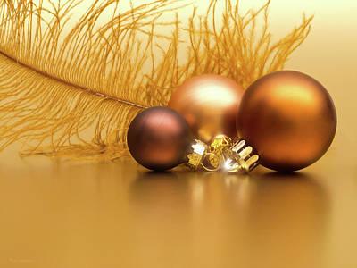 Golden Christmas Print by Wim Lanclus