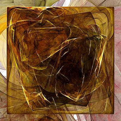 Abstract Digital Art - Golden Cube by Kathleen Sartoris