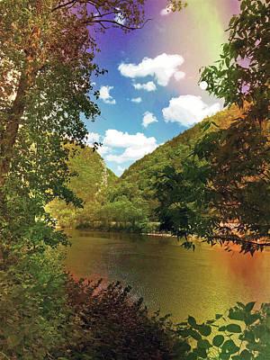 Golden Delaware River  Print by Maggie Vlazny