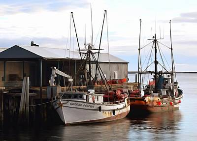 Golden Dolphin Eel Fishing Boat Port Angeles Washington Detail Painting Print by Barbara Snyder