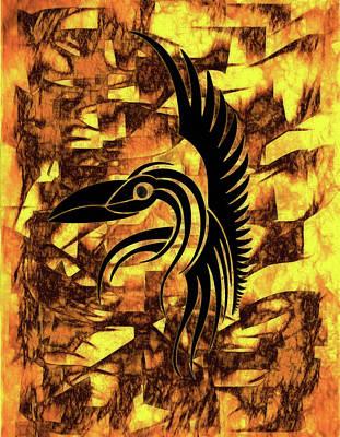 Black Background Mixed Media - Golden Flight Contemporary Abstract by Georgiana Romanovna