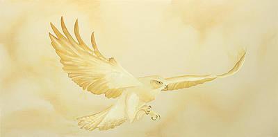 Monotone Painting - Golden Flight by Kristin Meyer