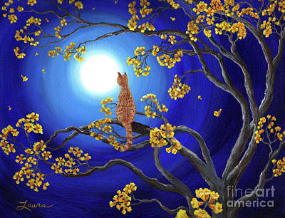 Tabby Painting - Golden Flowers In Moonlight by Laura Iverson