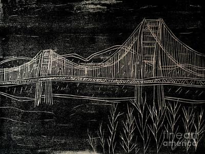 Printmaking Mixed Media - Golden Gate Bridge Black And White Woodcut Print  by Marina McLain