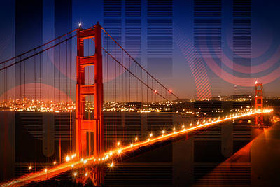 Abstract Movement Digital Art - Golden Gate Bridge Geometric Mix No 1 by Melanie Viola