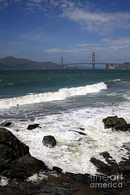 Golden Gate Bridge With Surf Print by Carol Groenen