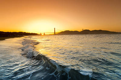 Beach Photograph - Golden Gate Curl by Sean Davey