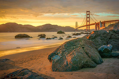 Bridges Photograph - Golden Gate Sunset by James Udall