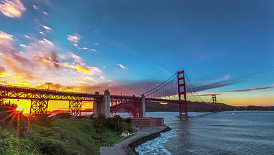 Golden Gate Sunset Print by Phil Fitzgerald