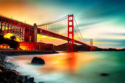 Long Exposure Photograph - Golden Gateway by Az Jackson