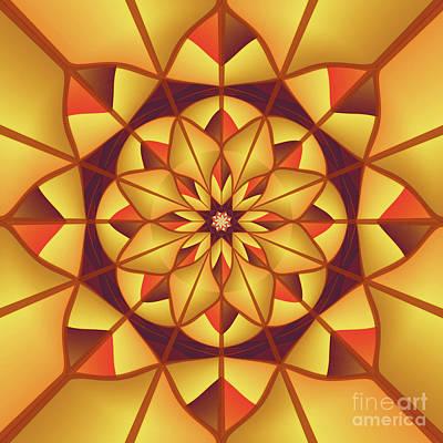 Golden Geometric Flourish Print by Gaspar Avila