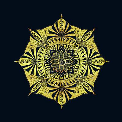 Golden Geometry Print by Deborah Smith