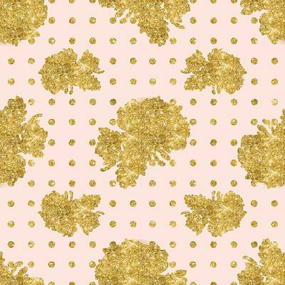 Dot Painting - Golden Gold Blush Pink Floral Rose Cluster W Dot Bedding Home Decor by Audrey Jeanne Roberts