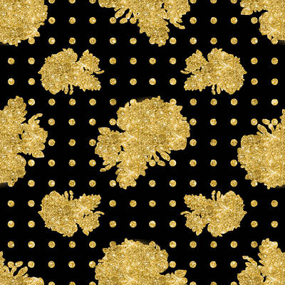 Dot Painting - Golden Gold Floral Rose Cluster W Dot Bedding Home Decor Art by Audrey Jeanne Roberts