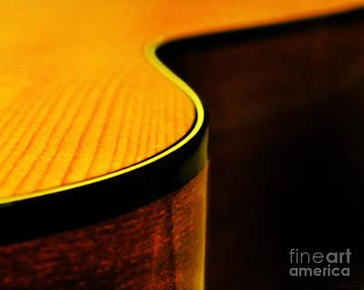 Acoustic Guitar Photograph - Golden Guitar Curve by Deborah Smith