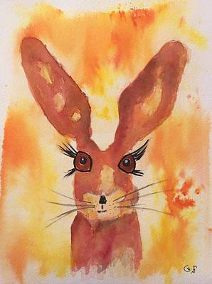 March Hare Painting - Golden Hare by Karen  Connolly