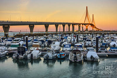 Spain Photograph - Golden Hour La Pepa Bridge Cadiz Spain by Pablo Avanzini
