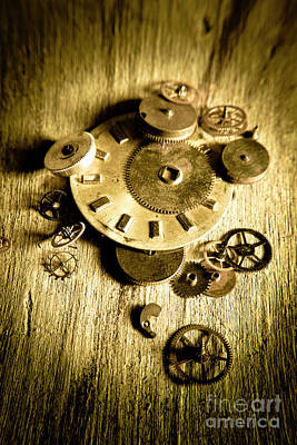 Mechanism Photograph - Golden Industry Gears  by Jorgo Photography - Wall Art Gallery