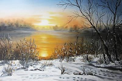 Golden Lake Sunrise  Print by Vesna Martinjak