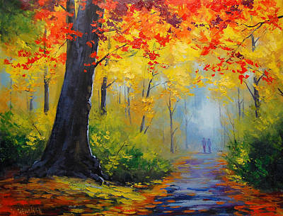 Elm Painting - Golden Landscape by Graham Gercken