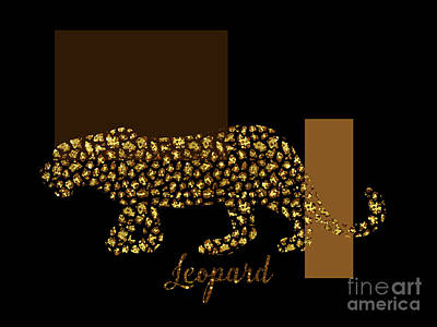 Gold Lame Digital Art - Golden Leopard Modern Gilt Wild Cat, Gold Black Brown by Tina Lavoie
