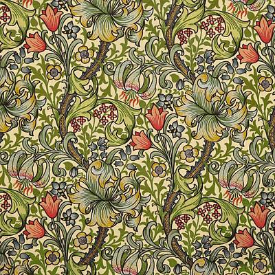 Lilies Mixed Media - Golden Lily Pattern by William Morris